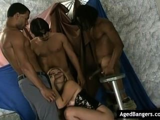 Hot Blonde Dancer Getting Her Mouth And Pussy Filled By Three Cocks.