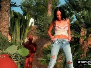 Brunette Hot Teen Stripping Erotically Outdoor