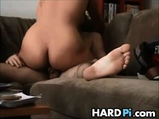 Horny Babe Rides Cock On The Couch