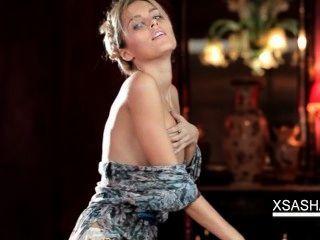 Attractive Sasha Strips Flashing Small Tits
