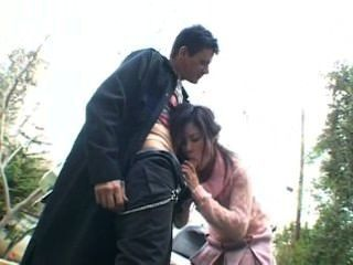 Uncensored Asian Blowjob For The Motorcycle, Cum In Mouth