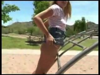 Hot Girl Rubbing On Playground