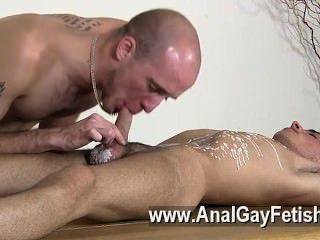 Gay Video Brit Twink Oli Jay Is Roped Down To The Table, His Slick And