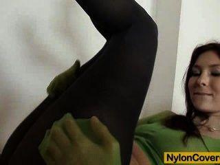 Good-looking Body Kattie Gold Wears Nylon Mask