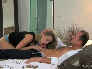 Shaped Blonde Milf Gently Fucking In Bed