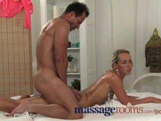 Massage Rooms Masseur Oils Beautiful Client Receives Amazing Blow Job