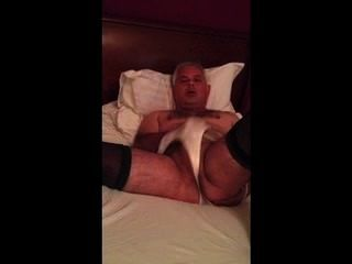 Bloke Masturbating Wearing Girlfriends Tights And Knickers