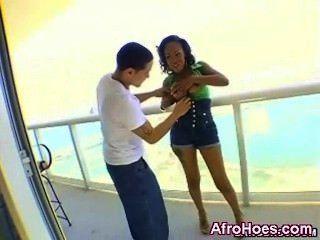 Horny Ebony Penetrated And Licked