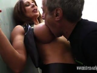 Mistress Carly Fucks In Toilet And Has Slave Lick Her Creampie