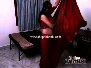 Sexy Shilpa Bhabhi Indian Wife In Red Saree Stripping Naked Sex