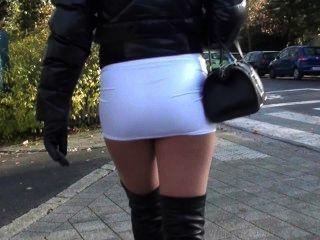 Julie Skyhigh Teen Hot Miniskirt & Overknee Leather Boots Walking In Street