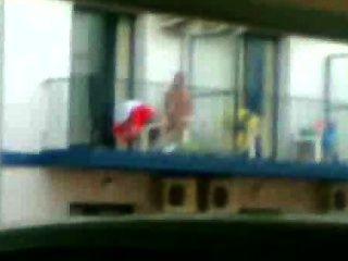 Ǝᗡuᗡ Caught Wanking On A Balcony.