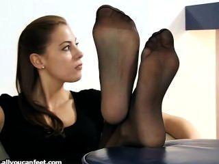 Nylon pantyhose stocking footjob and feetsex older