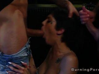 Tattooed Punk Babe Gangbang Fucks In Bar