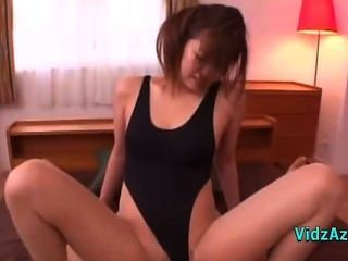 Asian Girl In Swimsuit And Pantyhose Fucked Hard Cum To Belly On The Bed In