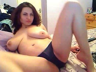 Gorgeous Brunette Big Natural Boobs Masturbating