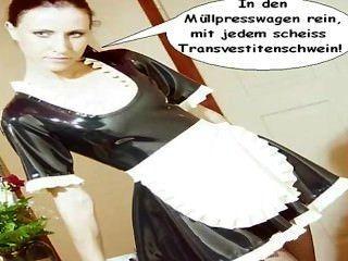 Latex Maid Natalie Will Scheiss Transvestitenschweine Im Müllpresswagen...