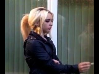 Cute Blonde Teen Smokes Outside