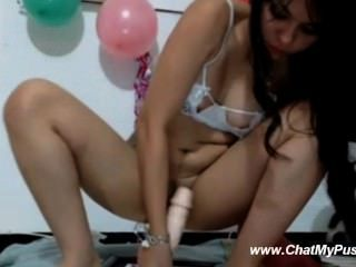 Webcam Black-haired Beauty Riding Dildo On Holiday