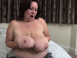 Horny Mature Licking Her Big Nipples
