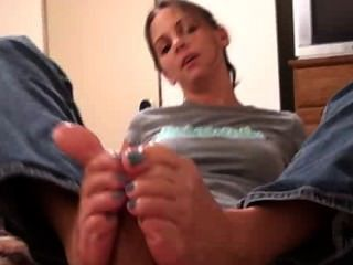 Kinky Foot Girl - Blue Toes Footjob