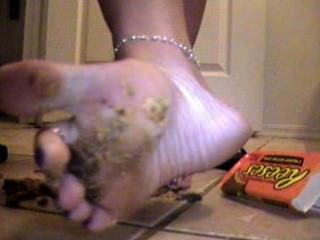 Licking Reeses Cup Off Stinky Feet