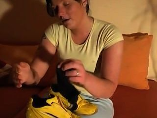 Chubby Brunette Smelling Her Sneakers And Socks