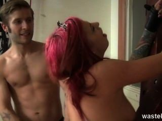 Sub Girl Gets Her Ass Spanked Red Raw And Her Ass Licked Out.