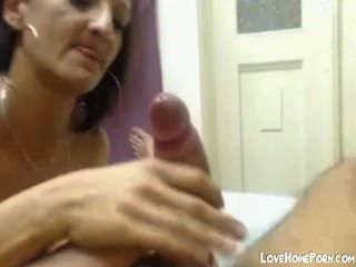 Footjob And Blowjob From Nasty Whore