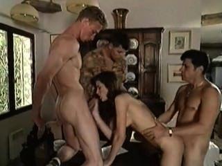 Beautiful Italian Girl Takes From Three Guys