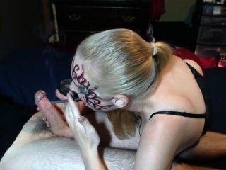 Kinky Homemade Face Paint Smoking Blowjob