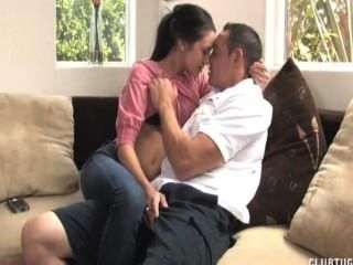 Sexy Brunette Morning Handjob On The Couch