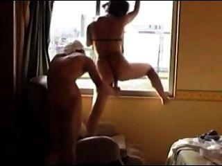 Japanese Girl Dildo Fuck By The Window