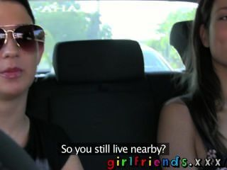 Girlfriends Fit Babes Eat Hot Wet Pussy On Back Seat Of A Car