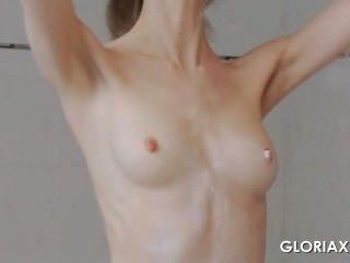 Sex Doll Gloria Touching Her Naked Body In Mirror