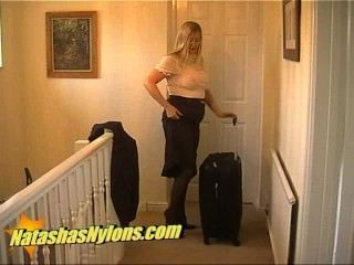 Pantyhose Flight Attendant In High Heels