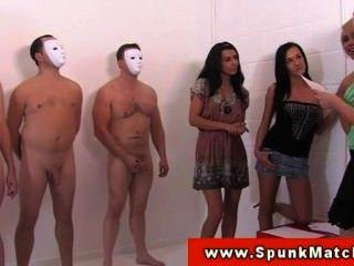 Young Cfnm Babe Stroking Cocks For Fun