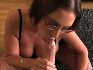 Busty Emma Butt Shoves A Stiff Cock Down Her Throat