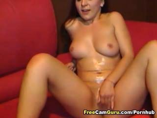 Brunette Rubs Her Clit Hard To Cum
