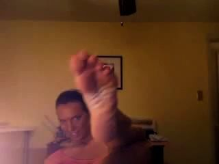 Western Woman Shows Her Lovely Huge Nordic Feet In Foot Domination Video