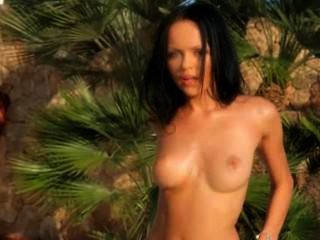 Blackhaired Woman Teasing Naked Outdoors