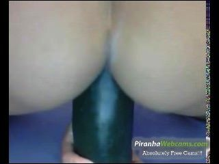 Hottest 19yo Teen Doing Herself With A Cucumber On Webcam
