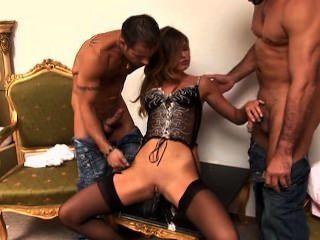 Olivia La Roche - Euro Babe In Sexy Black Lingerie Threesome