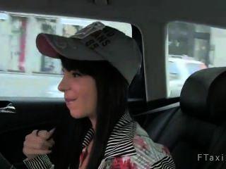 Hot Brunette Model Sucks Huge Dick In Taxi