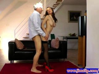 Teen Amateur In Stockings Riding Dick For Lucky Old Guy