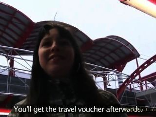 Brunette Fucked In Public Place For Fake Trip Prize