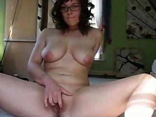 Cute Chubby Busty Brunette With Glasses Masturbating