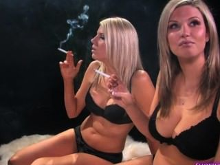 Two Blond Sisters Smoking