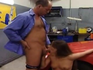 Mechanic Fucks Hottie In His Garage