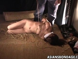 Girl tied up and strippe, nakked man